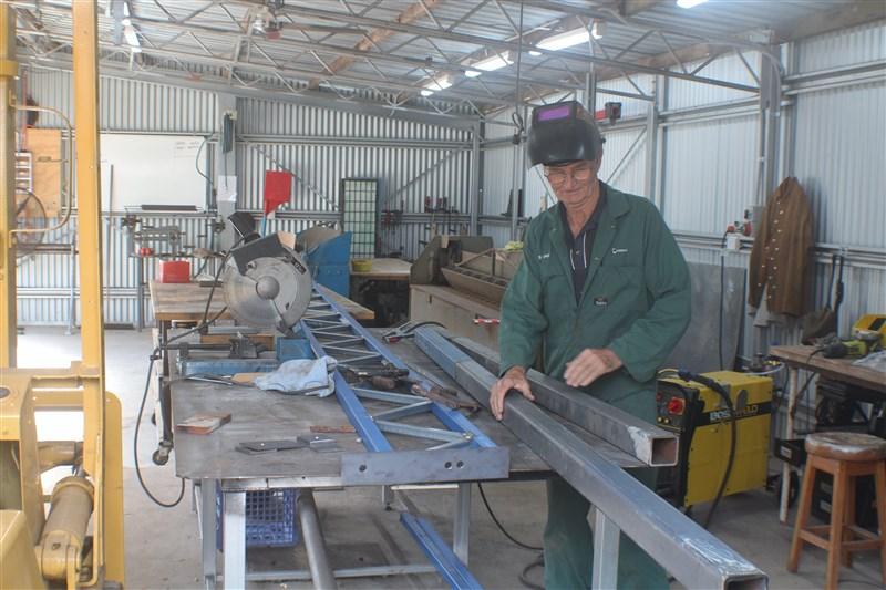 Inside the metal fabrication shop